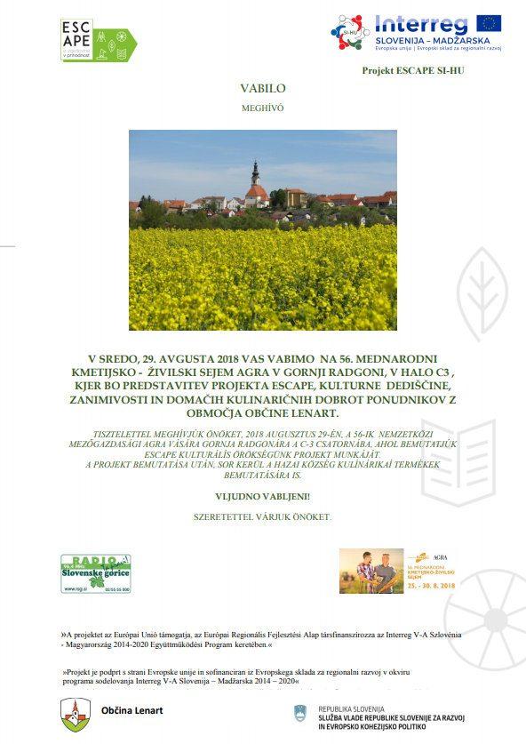 Predstavitev projekta ESCAPE, kulturne dediščine, zanimivosti in domačih kulinaričnih dobrot ponudnikov z območja občine Lenart